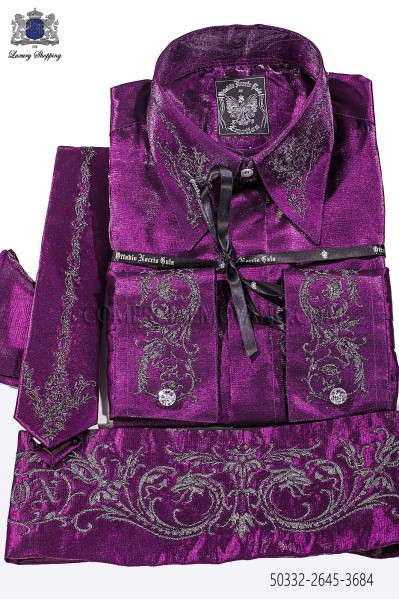 Fuchsia lurex shirt and accesories 50332-2645-3684 Ottavio Nuccio Gala