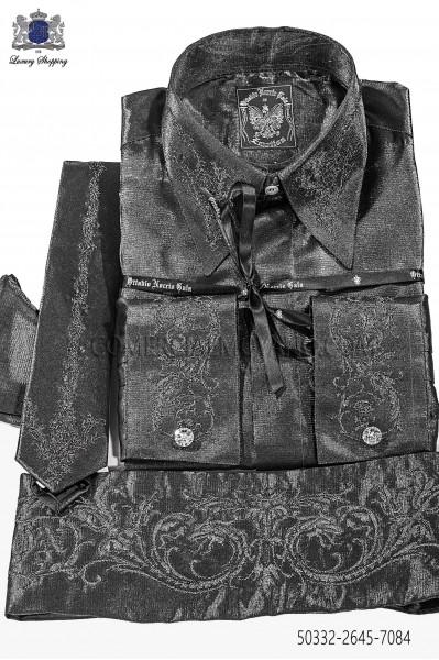 Gray lurex shirt and accesories 50132-2645-7084 Ottavio Nuccio Gala