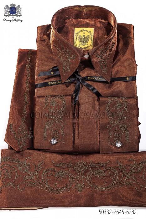 Bronze lurex shirt and accesories 50332-2645-6282 Ottavio Nuccio Gala