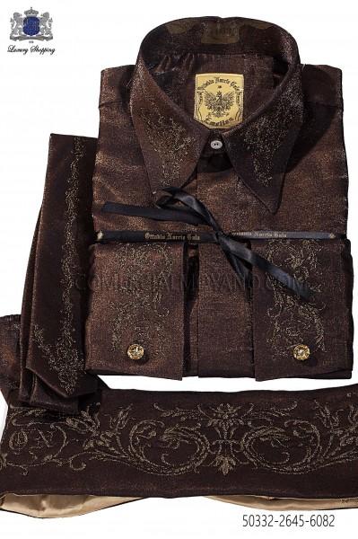Brown lurex shirt and accesories 50332-2645-6082 Ottavio Nuccio Gala