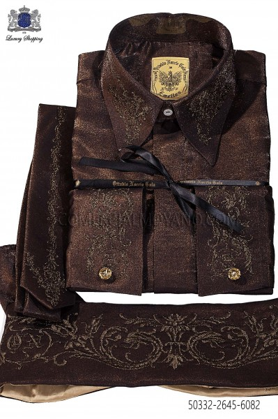 Brown lurex shirt and accesories 50332-2645-6082 Ottavio Nuccio Gala