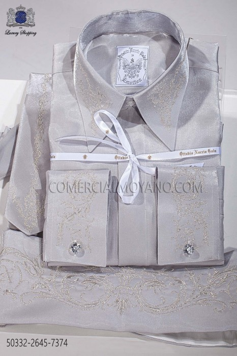 Gray lurex shirt and accesories 50332-2645-7374 Ottavio Nuccio Gala