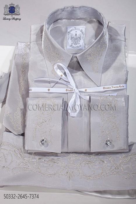 Gray lurex shirt and accesories 50332-2645-7374 Ottavio Nuccio Gala