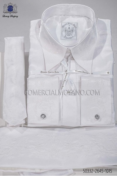 White lurex shirt and accesories 50332-2645-1015 Ottavio Nuccio Gala