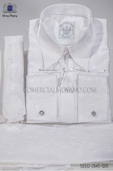 White lurex shirt and accesories 50332-2645-1015 Ottavio Nuccio Gala