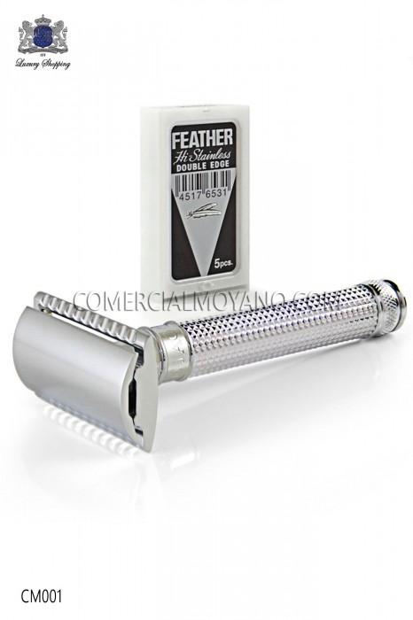 Classic English shaving razor. Chromed metal with laser engraved diamond design