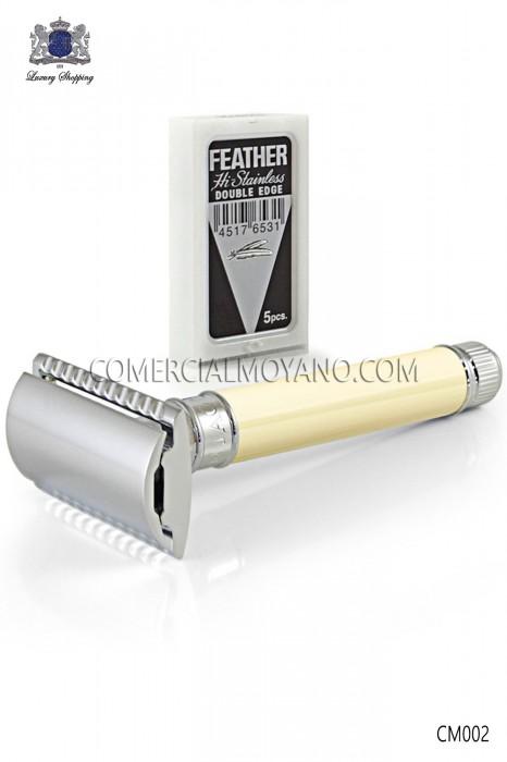 Classic English shaving razor. Metal head elegant ivory handle. Edwin Jagger.