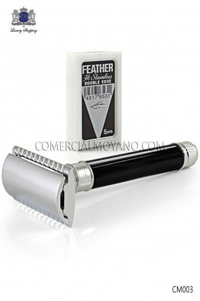 Classic English shaving razor. Elegant black metallic head with ebony handle. Edwin Jagger.