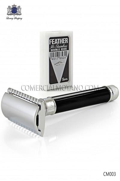 Maquinilla clásica de afeitar inglesa. Cabezal metálico con elegante empuñadura color negro ébano. Edwin Jagger.