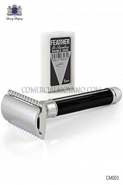 Classic English shaving razor. Elegant black metallic head with ebony handle. Edwin Jagger.