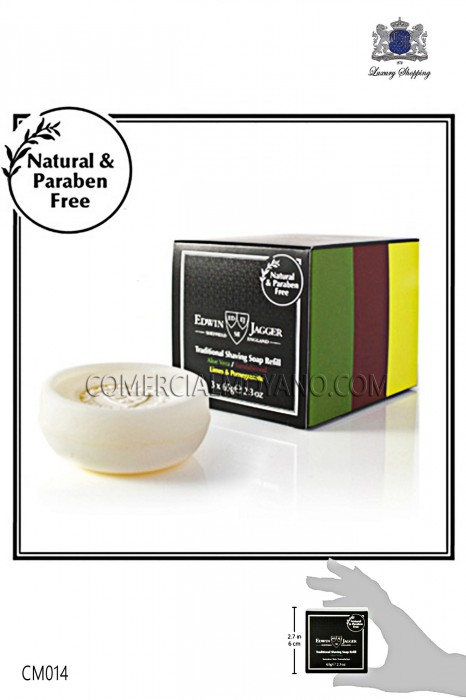 Assortment of three British soaps with natural perfumes Sandalwood, Aloe and Lima listed shaving classic. Edwin Jagger
