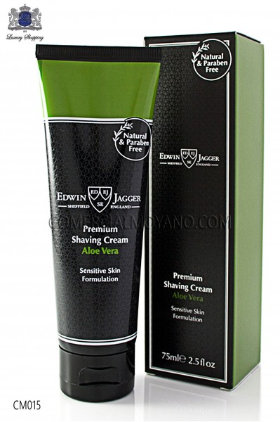 English Shaving cream with Aloe Vera natural perfume 75 ml tube. Edwin Jagger.