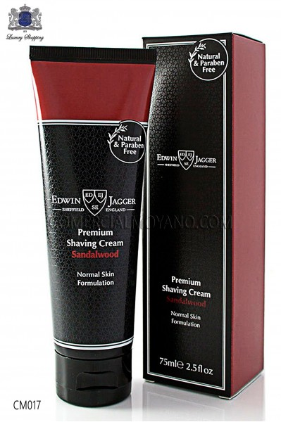 Shaving cream English Sandalwood natural perfume with 75 ml tube. Edwin Jagger.