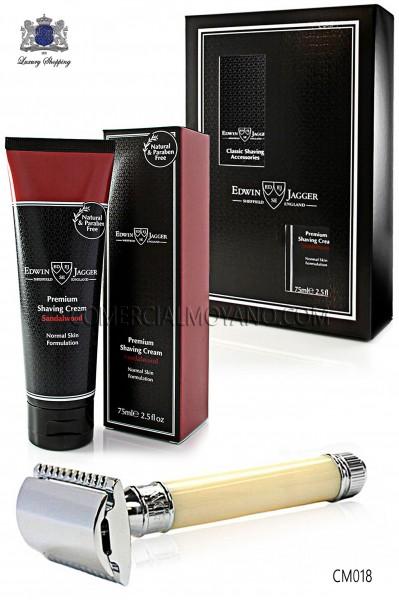 Pack de afeitado inglés con estuche regalo. Maquinilla clásica color marfil y Crema de afeitar Sándalo en tubo 75 ml.