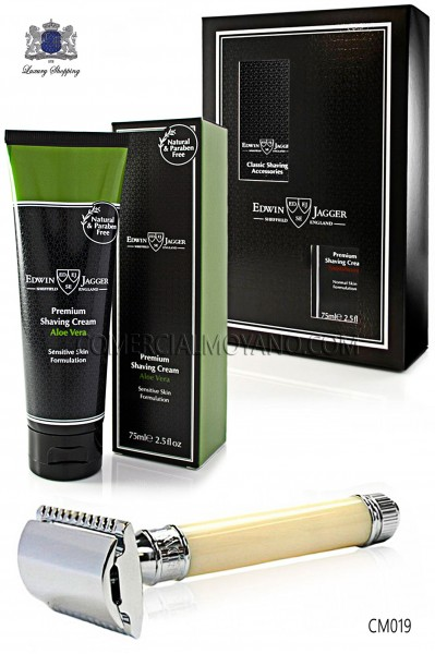 Pack de afeitado inglés con estuche regalo. Maquinilla clásica color marfil y Crema de afeitar Aloe Vera en tubo 75 ml