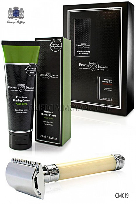 Pack English shaving with gift box. Classic ivory razor and shaving cream Aloe Vera 75 ml tubeoe Vera en tubo 75 ml.
