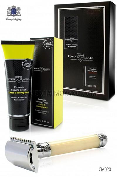 Pack de afeitado inglés con estuche regalo. Maquinilla clásica color marfil y Crema de afeitar Lima en tubo 75 ml