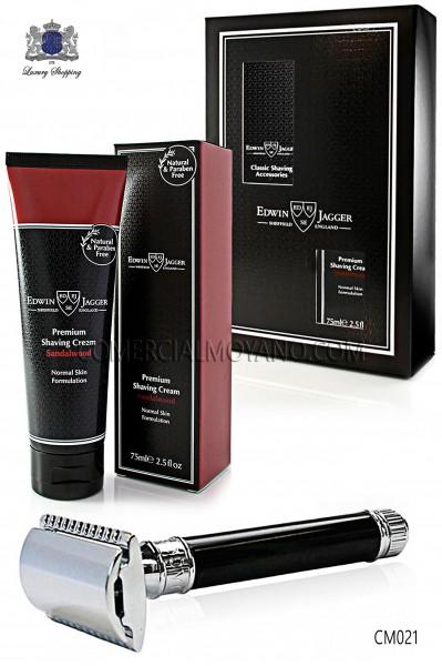 Pack de afeitado inglés con estuche regalo. Maquinilla clásica color negro ébano y Crema de afeitar Sándalo en tubo 75 ml