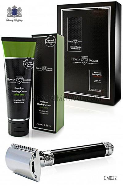Pack de afeitado inglés con estuche regalo. Maquinilla clásica color negro ébano y Crema de afeitar Aloe Vera en tubo 75 ml