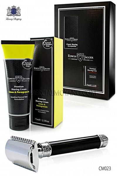 Pack de afeitado inglés con estuche regalo. Maquinilla clásica color negro ébano y Crema de afeitar Lima en tubo 75 ml