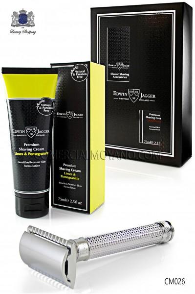 Pack de afeitado inglés con estuche regalo. Maquinilla clásica de afeitar metálica y Crema de afeitar Lima en tubo 75 ml