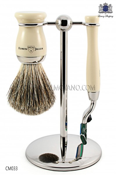 English shaved game ivory, with metal support, razor and brush. Edwin Jagger.