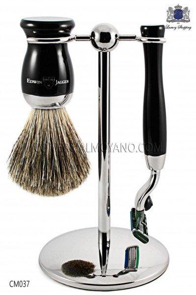 English Game shaving ebony black color, with metallic support, razor and brush. Edwin Jagger.