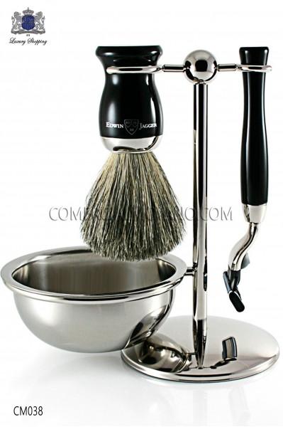 Juego de afeitado inglés color negro ébano, soporte metálico con bol para jabón, maquinilla y brocha. Edwin Jagger.