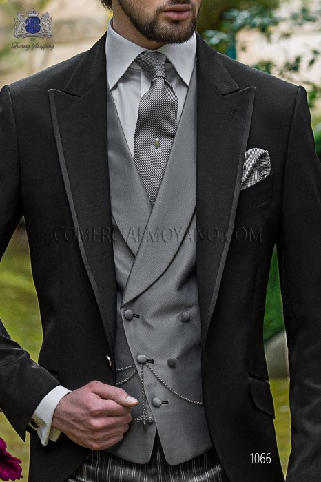 Gray double-breasted groom waistcoat in New Performance fabric