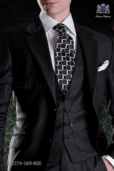 Black vest with shawl collar and buttons