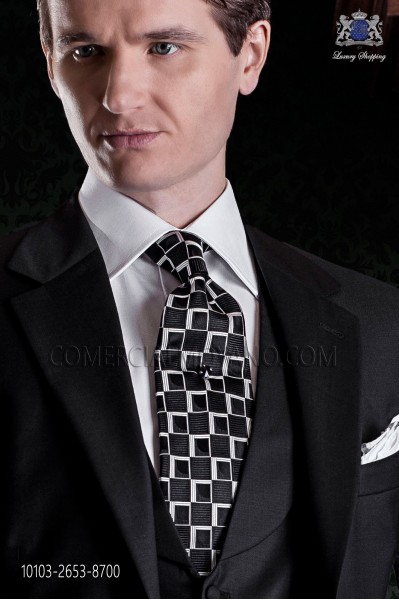 Tie black background geometric motifs.