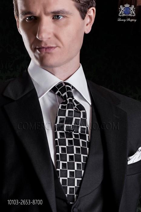 Tie black background geometric motifs.