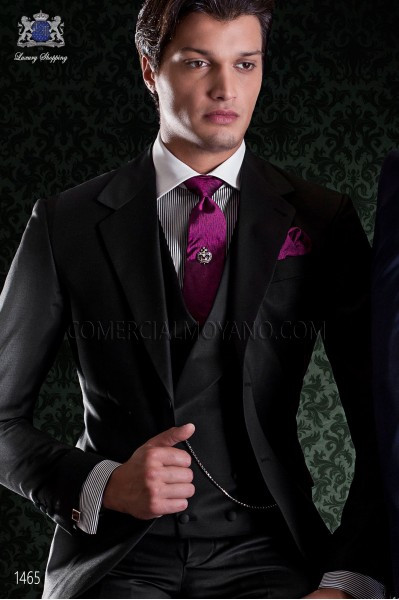 """Italian tailoring suit stylish cut """"Slim"""" two buttons. Fresh tissue in pure black wool."""