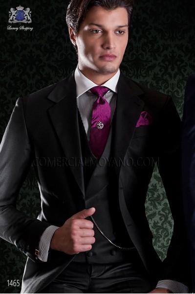 """Traje de sastrería italiana de elegante corte """"Slim"""", dos botones. Tejido fresco en pura lana negro"""