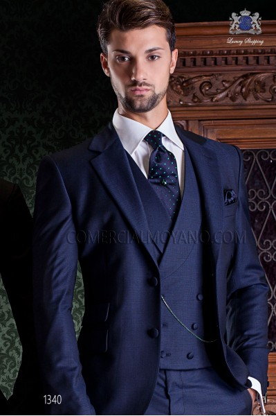 "Italian tailoring suit stylish cut ""Slim"" two buttons. Microdesign blue fabric."