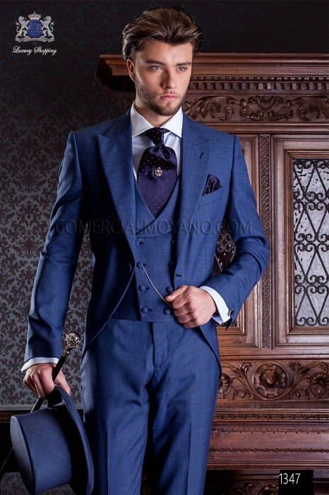 "Elegant Italian frock coat tailoring cut ""Slim"", an opening. Prince of Wales blue fabric."