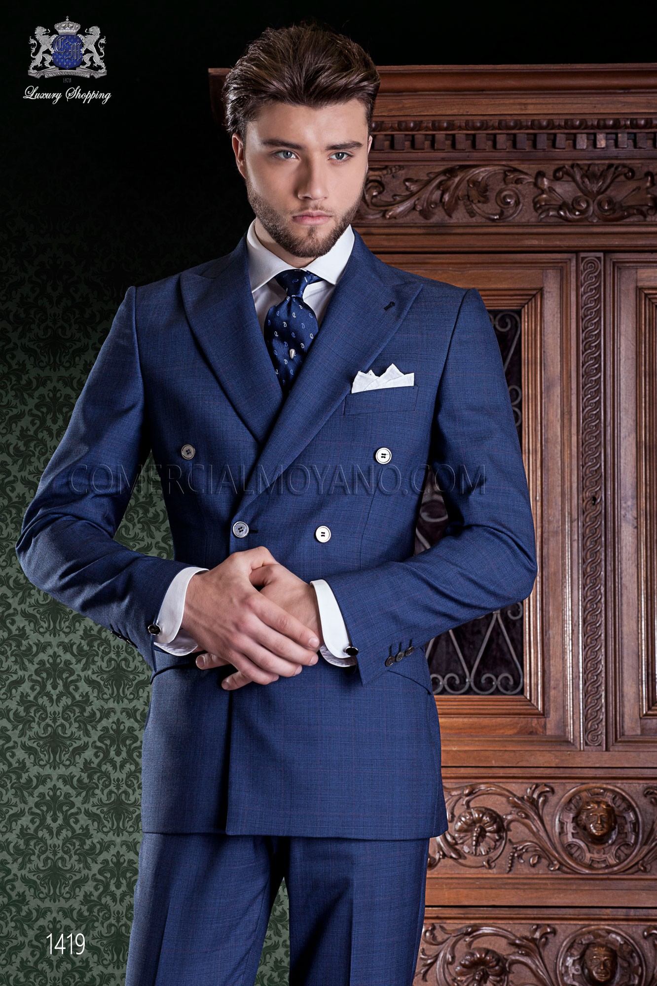 Blue prince of Wales double-breasted suit Italian tailored slim cut