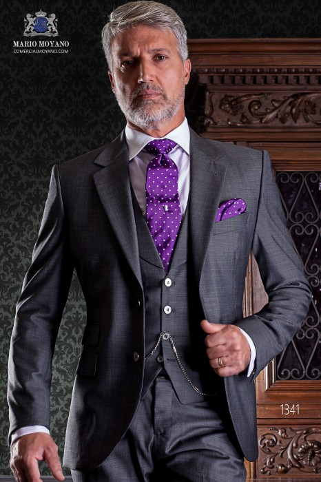"""Italian tailoring suit stylish cut """"Slim"""" two buttons. Microdesign gray fabric."""