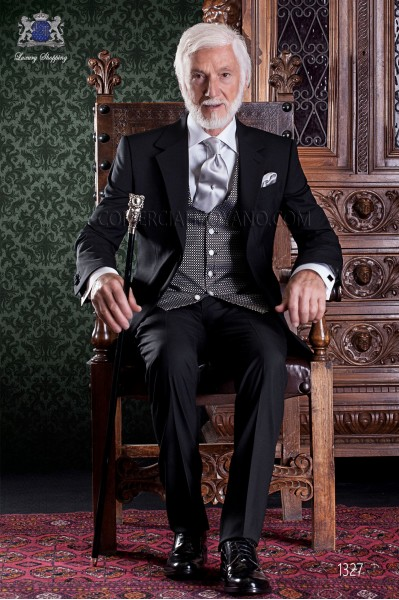 """Italian tailoring suit 2-piece, with elegant cut """"Slim"""" two buttons. Fresh black wool fabric."""