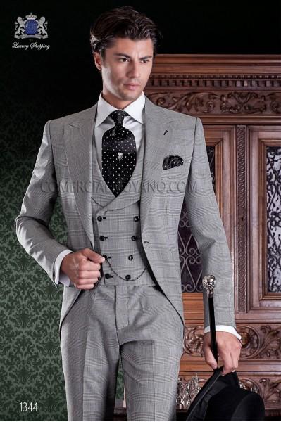 """Chaqué de sastrería italiana de elegante corte """"Slim"""". Tejido Príncipe de Gales."""