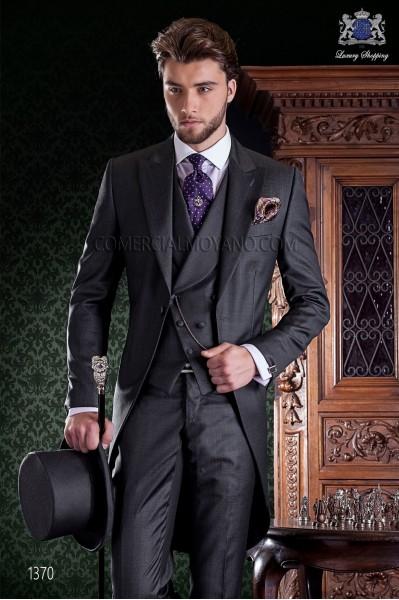 """Chaqué de sastrería italiana de elegante corte """"Slim"""". Tejido fil a fil gris marengo."""