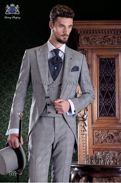 "Elegant Italian frock coat cut ""Slim"". Prince of Wales fabric with thin blue stripe."