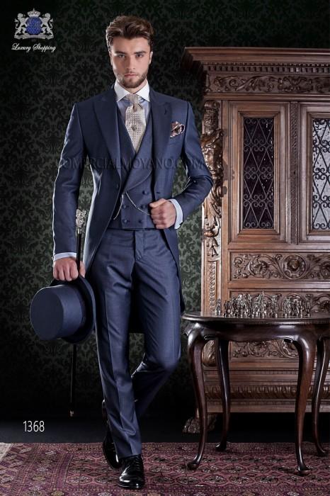 "Frock coat elegant Italian tailoring cut ""Slim"". Blue fil a fil fabric."