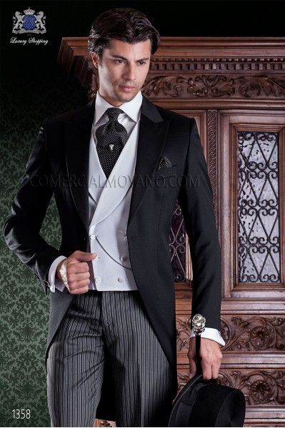 "Italian tailoring frock coat 2 pieces, with elegant cut ""Slim"". Fabric 100% wool pants and black label."