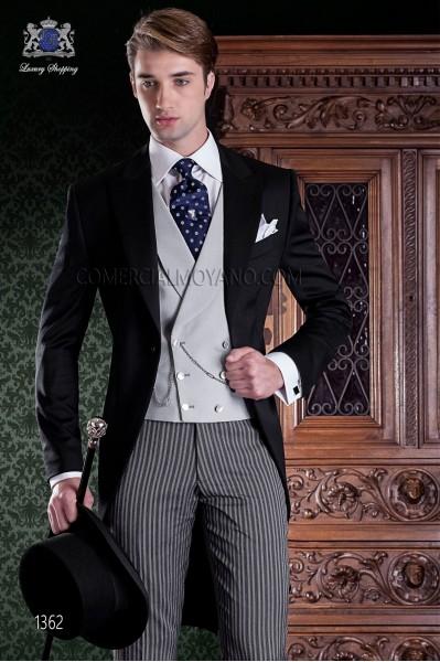 """Chaqué de sastrería italiana 2 piezas, con elegante corte """"Slim"""". Tejido 100% lana negra y pantalón de etiqueta."""