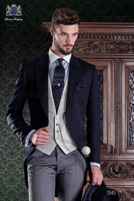 """Italian tailoring frock coat 2 pieces, with elegant cut """"Slim"""". Satin fabric in navy wool blend pants and label."""