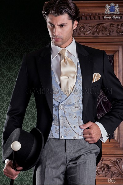 "Italian tailoring groom suit 2 pieces, with elegant cut ""Slim"". Fabric 100% wool pants and black label."