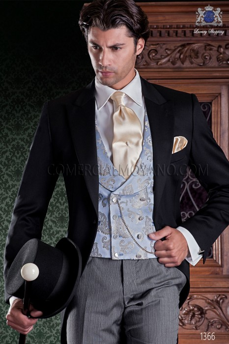 """Italian tailoring frock coat 2 pieces, with elegant cut """"Slim"""". Fabric 100% wool pants and black label."""