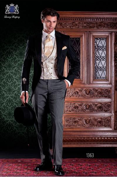 """Chaqué de sastrería italiana 2 piezas, con elegante corte """"Slim"""". Tejido 100% lana y pantalón de etiqueta."""