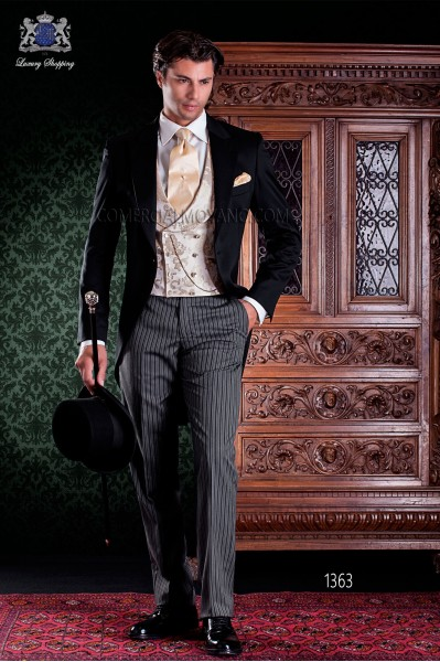 "Italian tailoring frock coat 2 pieces, with elegant cut ""Slim"". 100% wool fabric pants label."